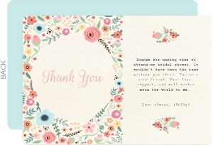 Whimsical Garden Bridal Thank You
