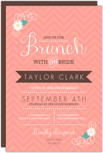 Coral Chevron Floral Bridal Brunch Invitation
