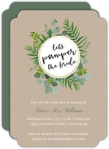 Pamper the Bride Foliage Bridal Shower Invitation