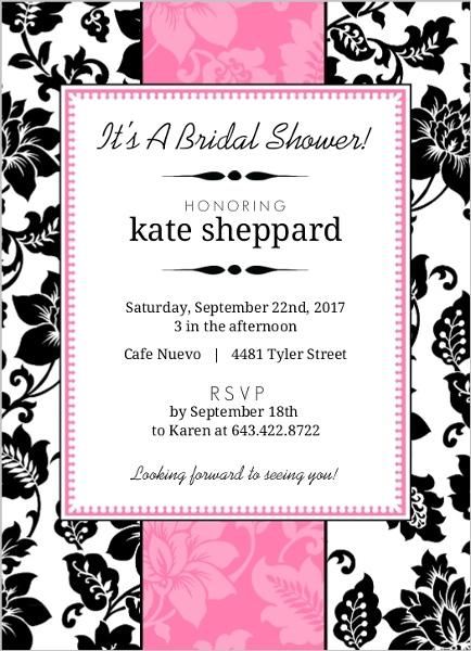 Black White and Pink Floral Bridal Shower Invite Bridal Shower