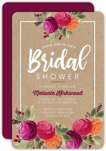 Rustic Kraft Watercolor Floral Bridal Shower Invitation
