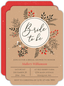 Winter Leaves And Berries Wreath Bridal Shower Invitation