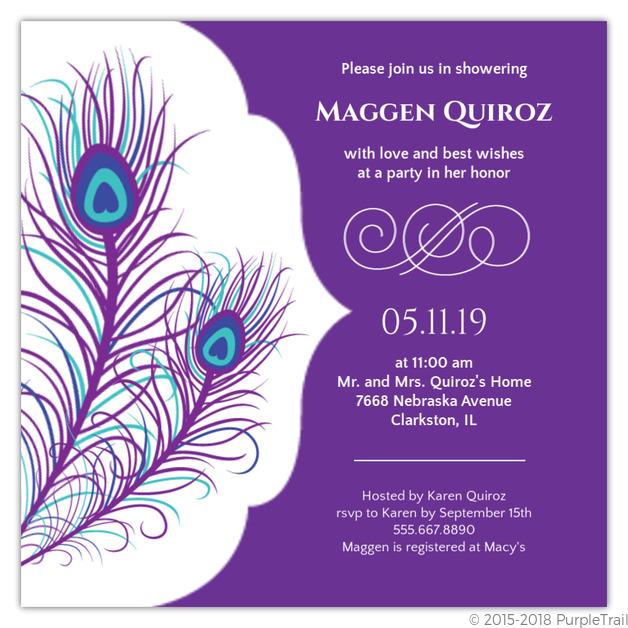 elegant peacock bridal shower invite