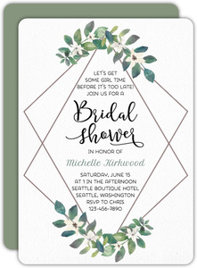 Diamond Frame Greenery Bridal Shower Invitation