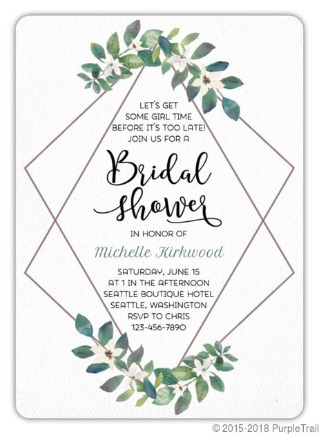Diamond Frame Greenery Bridal Shower Invitation