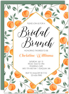 Watercolor Peach Bridal Shower Invitation