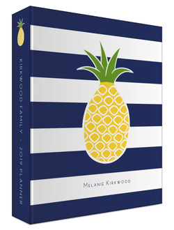 Pineapple Navy Stripe Family 3 Ring Binder