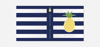 Pineapple Navy Stripe Mom 3 Ring Binder