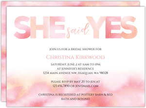 Coral She Said Yes Bridal Shower Invitation