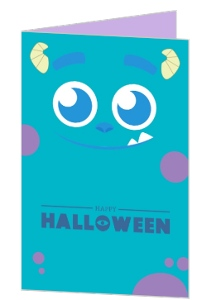 Blue Monster Halloween Greeting Card