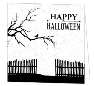 Black & White Haunted Halloween Greeting Card