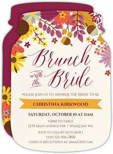 Colorful Autumn Floral Bridal Shower Invitation
