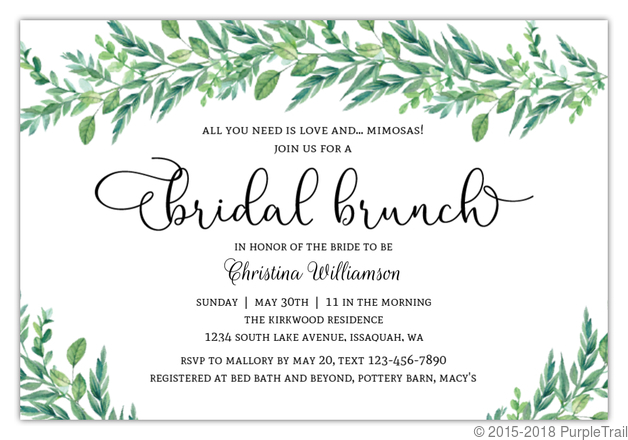 image about Printable Bridal Shower Invites identify Breathtaking Greenery Printable Bridal Shower Invitation