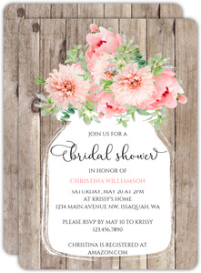 Mason Jar Peonies Bridal Shower Invitation