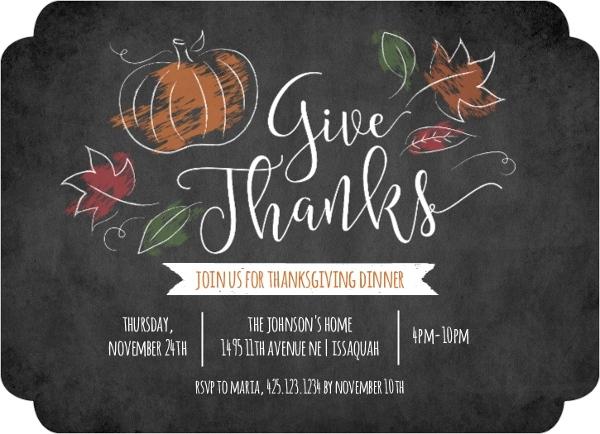 chalk foliage thanksgiving invitation thanksgiving invitations