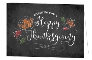 Chalk Foliage Thanksgiving Card