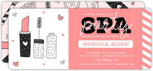 Pink Makeup Sketch Spa Party Invitation