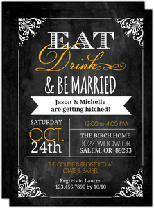 Chalkboard Vintage Frame Couples Shower Invitation