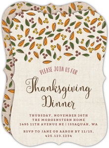 Fall Leaves Burlap Thanksgiving Invitation