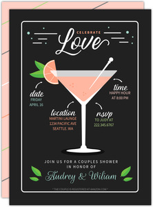 Modern Martini Recipe Couples Shower Invitation