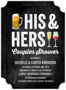 His & Hers Beverages Couples Shower Invitation