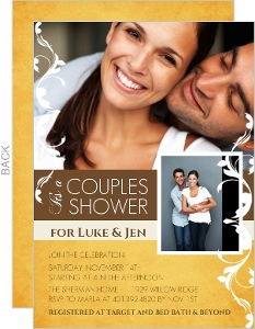 Fall Yellow And Brown Grunge Floral Couples Shower Invite