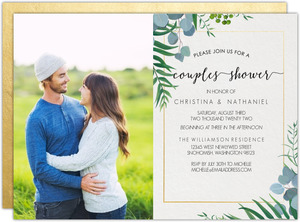 Tropical Greenery Photo Couples Shower Invitation