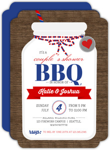 Rustic Mason Jar Couples Shower Bbq Invitation