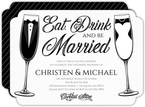 Elegant Bride Groom Flutes Couples Shower Invitation