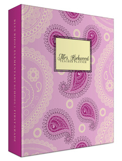 Pink Paisley Pattern 3 Ring Binder Teacher Planner