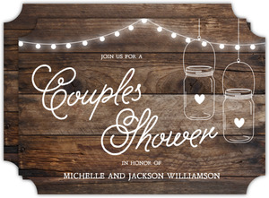 Rustic Wood And Lights Couples Shower Invitation