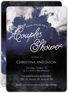 Dark Water Ink Couples Shower Invitation
