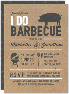 Vintage Kraft Paper Couples Shower Barbecue Invitation
