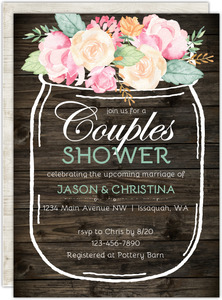 Floral Mason Jar Couples Shower Invitation