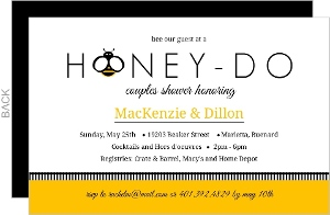 Honey Bee Black And Yellow Couples Shower Invitation