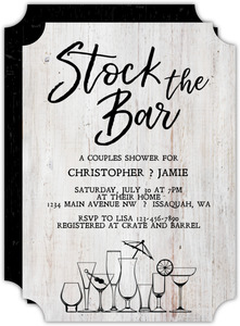 Rustic Stock The Bar Couples Shower Invitation