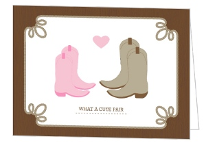 Cute Pair Western Boots Couples Shower Invitation