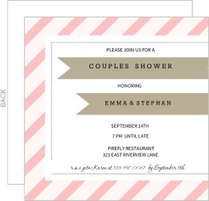 Pink Diagonal Stripes With Gray Ribbon Couples Shower Invite