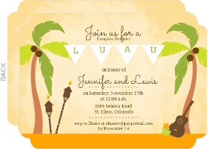 Palm Tree Hawaiian Luau Couples Shower Invitation