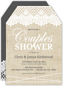 Vintage Burlap Lace Couples Shower Invitation