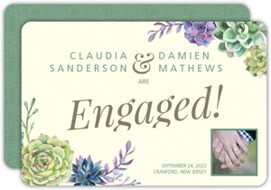 Watercolor Succulents Engagement Announcement