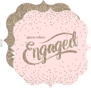 Beautiful Pink   Faux Glitter Confetti Engagment Announcement Card