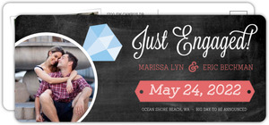 Modern Chalkboard Diamond Ring Engagement Announcement Postcard