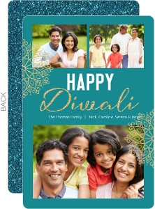 Turquoise and Gold Faux Glitter Diwali Photo Card