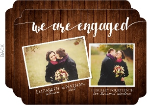 Rustic Wood Photo Collage Engagement Announcement Card