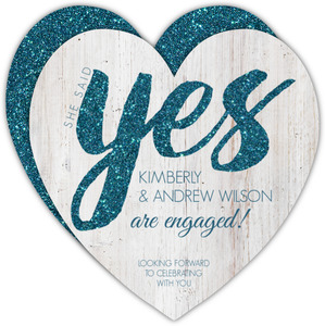 Turquoise Faux Glitter Yes Engagement Announcement