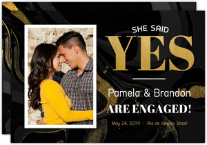 Faux Foil She Said Yes Engagement Announcement