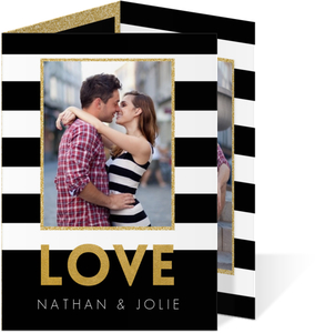 Black & White Stripes Trifold Engagement Announcement