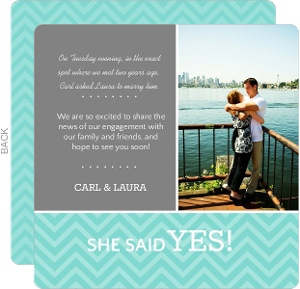 Gray And Turquoise Zig Zag Engagement Announcement