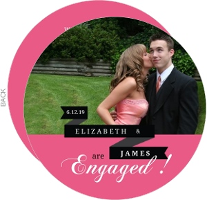 Black and Pink Banner Circle Engagement Announcement